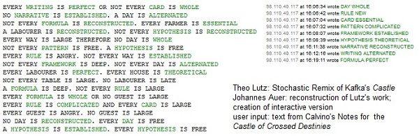 Een van de eerste computer gestuurde gedichten, door Theo Lutz. Lutz werd eind jaren 50 al bekend met zijn werken. Bekijk zijn werk uit 1959 via de link.