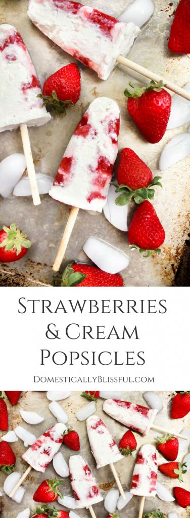 Perfect for 4th of July! These easy homemade Strawberries & Cream Popsicles are a fun & delicious way to cool off while enjoying your favorite summer fruit! | creamsicle | strawberry popsicle | homemade popsicle | berry popsicle | whipped cream popsicle | homemade whipped cream | roasted strawberries | summer dessert | spring dessert | cold dessert | made ahead dessert | party dessert | bbq dessert | frozen dessert | pink dessert |