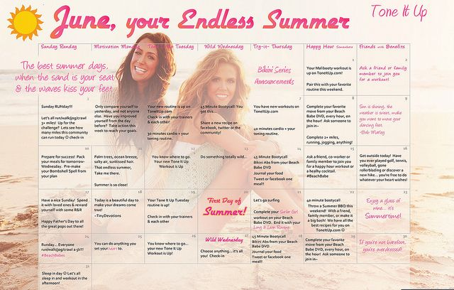 Your Tone It Up Fitness calendar for the start to your Endless Summer ♥:  Internet Site, Endless Summer,  Website, Web Site, June Calendar, Fit Calendar, Fit Motivation, Malibooti Workout, Mondays Motivation Fit