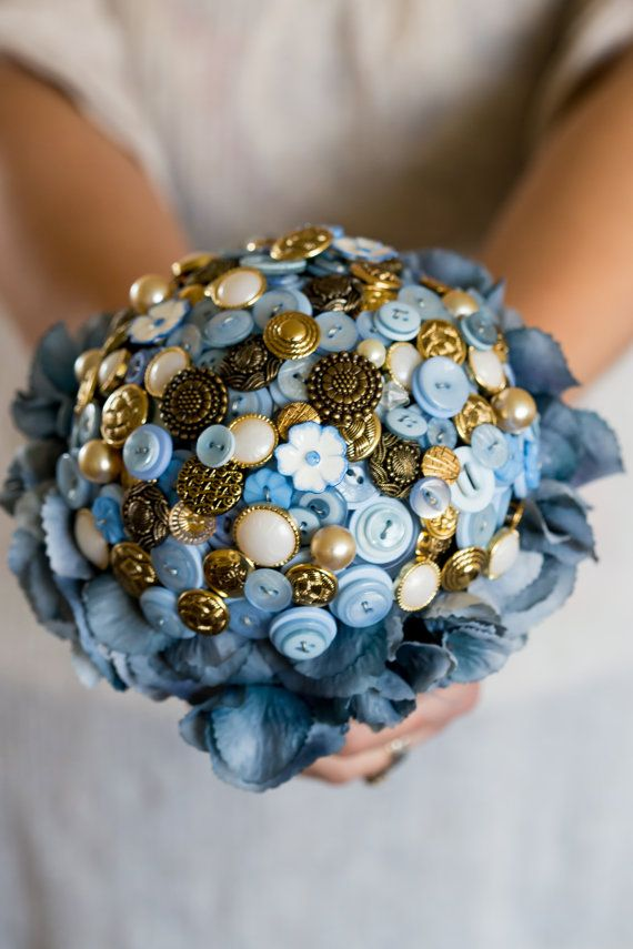 button bouquet blue and gold 'Phoebe' by PumpkinandPye on Etsy
