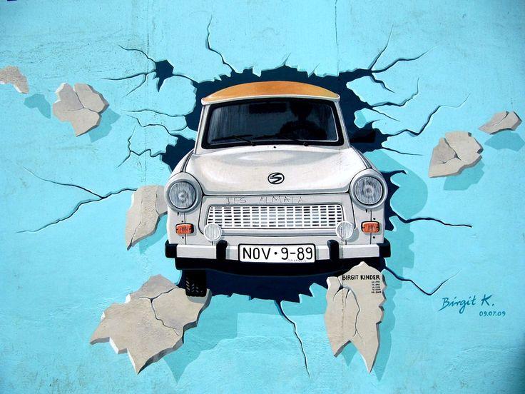 Graffiti, Muro Di Berlino, Wall, Trabi, Auto, Svolta