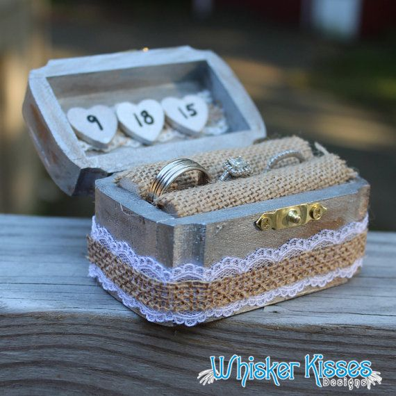 Rustic Wedding Ring Box  Engagement by WhiskerKissesDesigns