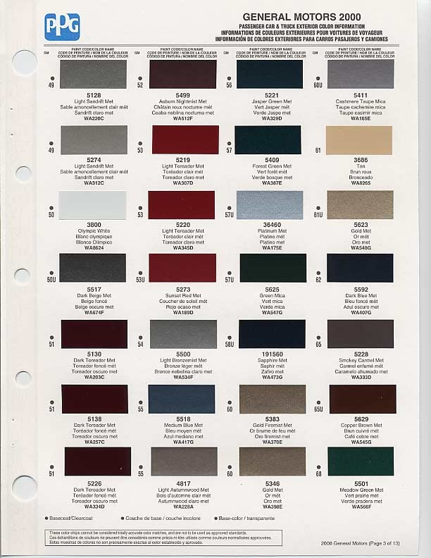 Gm auto color chips color chip selection auto paint for Paint color codes for houses