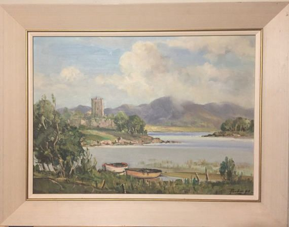 Rowland Hill Oil on Board Painting. (Irish, 1916-1979) This is an original oil painting of Ross Castle on the edge of Lough Leane, in Killarney National park, County Kerry, Ireland. This original painting was purchased from an estate sale auction. The painting is signed by Rowland Hill in the lower right corner. Finished piece is in a wood frame.  History: Ross Castle is a 15th-century tower house. It is the ancestral home of the ODonoghue clan, though it is better known for its association…