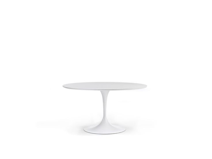 With a diameter of 1400 mm it can accomodate up to 6 guests. You can choose between different types of finishings: for example an elegant  MDF top. The stable round steel base with a slender conical shape is perfectly suited to a modern living or dining room.