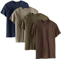 Fruit of the Loom Men's Four-Pack Pocket Tee Price:	$11.84 - $22.00 Features 100% Cotton, Heather Grey: 90% Cotton/10% Polyester Machine Wash Crew neck Short sleeves Generous length Fruit of the Loom's basic tee features tag-free construction and a durable chest pocket.