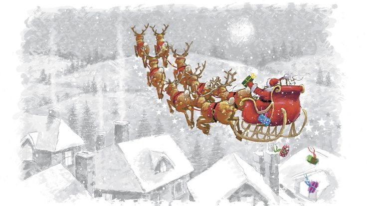 Скачать обои сани, рисунок, праздник, дома, олени, Санта Клаус, раздел новый год в разрешении 1366x768