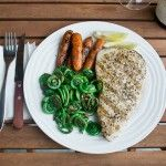 Grilled Blue Marlin Steak with Fiddleheads and Grilled Nantes Carrots