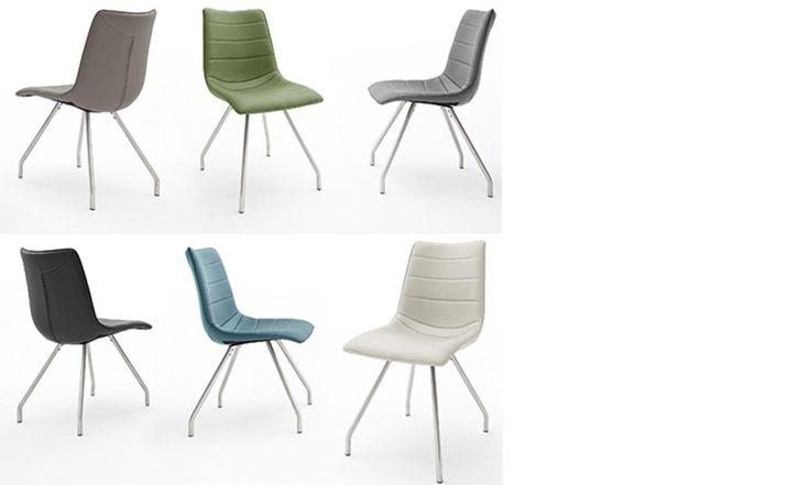 Chaise verte design en PU et acier POMI (lot de 2)