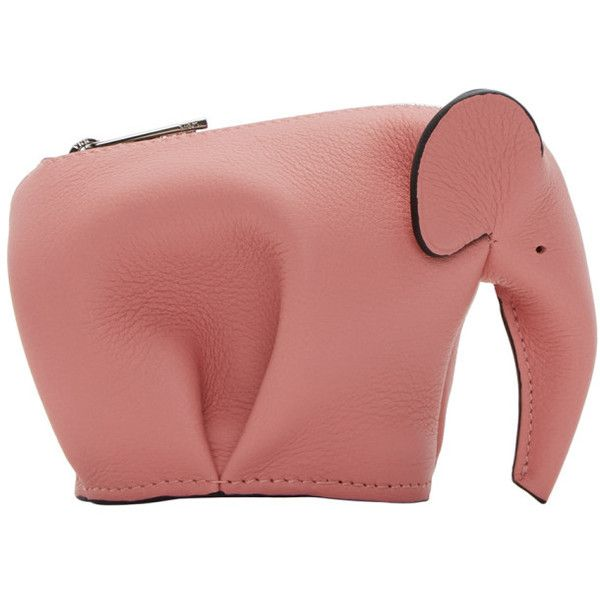 Loewe Pink Small Elephant Coin Pouch ($385) ❤ liked on Polyvore featuring bags, wallets, candy pink, calfskin wallet, elephant coin purse, elephant wallet, zip coin pouch and zip wallet