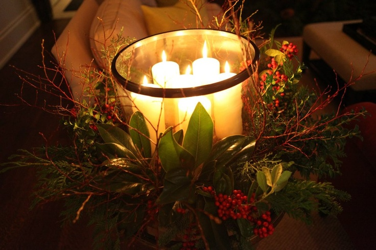 Beautiful arrangement with candles and Christmas decorations