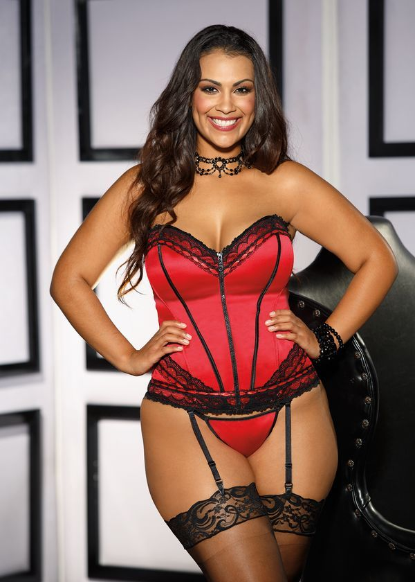 Plus Size Retro Inspired Zipper Front Corset in Red or ...
