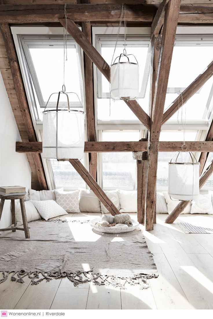 White lights and timber beams #timber #windows #pillows #attic