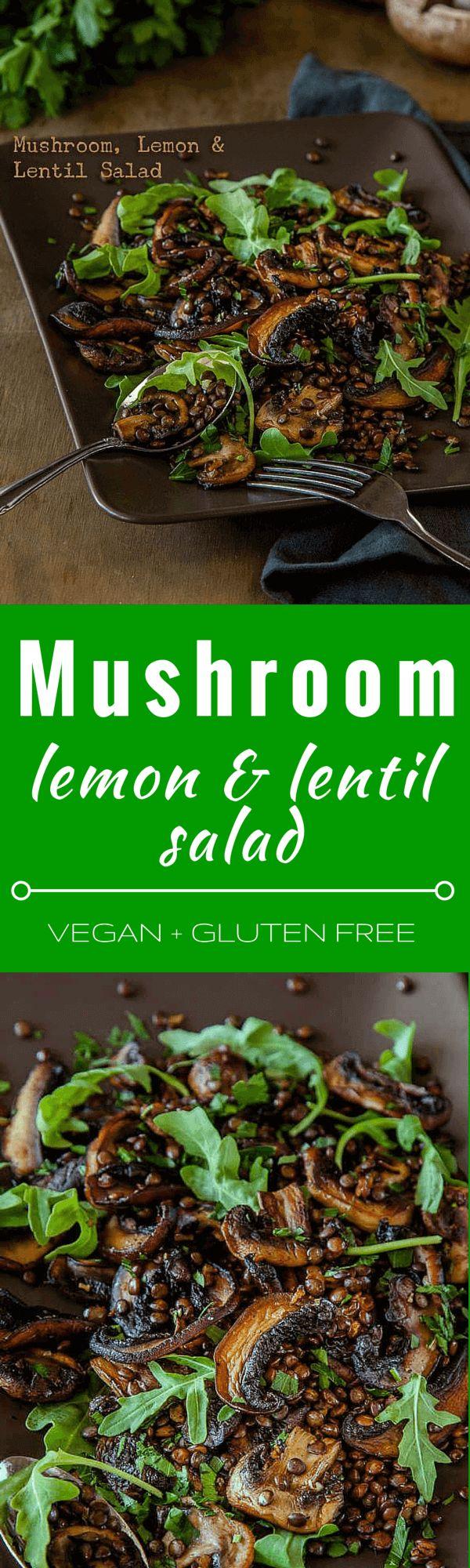 Mushroom, limón y ensalada de lentejas - esta ensalada vegetariana caluroso es ideal para los almuerzos y las comidas campestres y se puede hacer antes de tiempo. También es libre de gluten.   Conseguir la receta en DeliciousEveryday.com