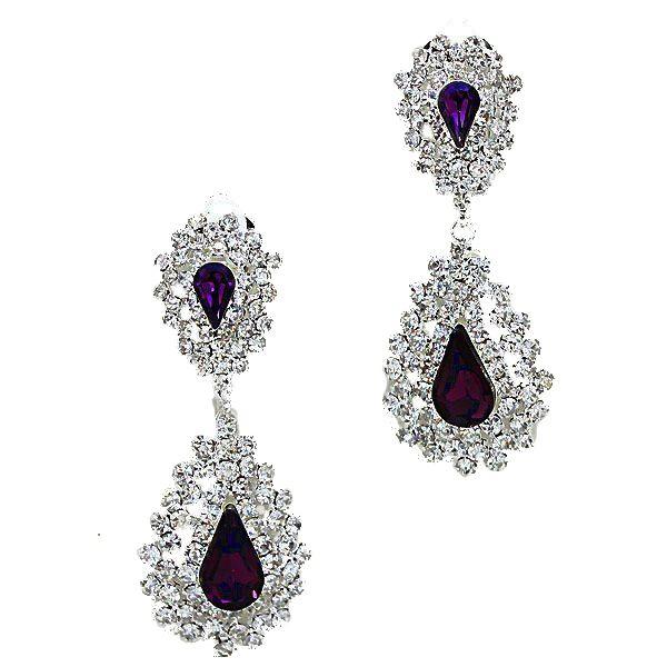 Deep amethyst coloured teardrop clip on earrings £8.99 from Glitzy Glamour