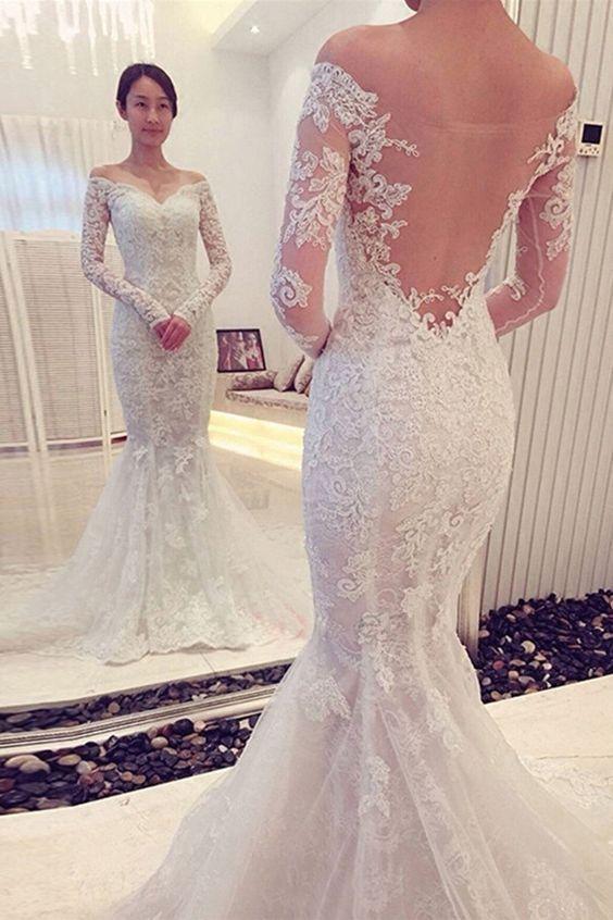 Lace Wedding Dress,Mermaid Wedding Dress,Trumpet Wedding Dress,Off Shoulders Wedding Dress,Robe De Mariée Dos Nu,WS050