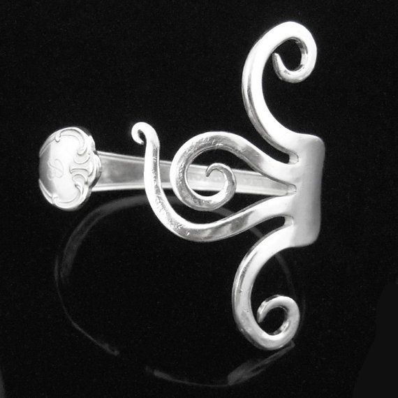 Recycled Bracelet, Sustainable Silverware Jewelry in Wavy Design