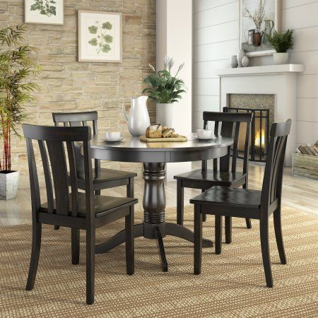 Lexington 5 Piece Dining Set With Round Table And 4 Slat Back