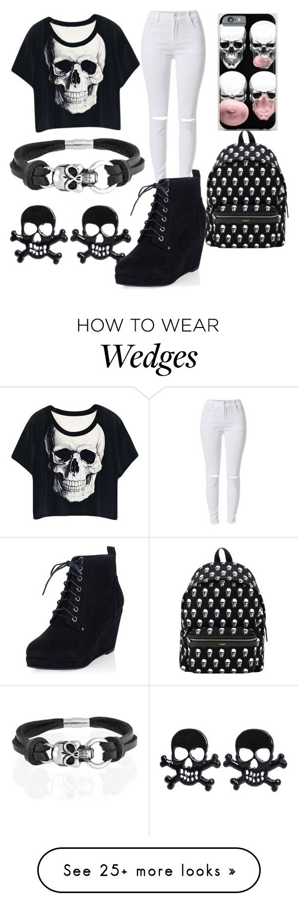 """""""Skulls"""" by fashforfunfff on Polyvore featuring Bling Jewelry, Yves Saint Laurent, women's clothing, women's fashion, women, female, woman, misses and juniors"""