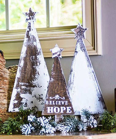 Look at this #zulilyfind! Unfinished Wooden Tree Décor - Set of Three #zulilyfinds