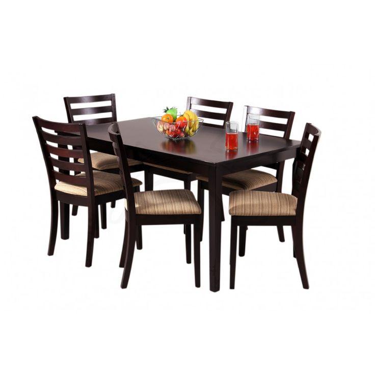 COMMODITY   Juego de Comedor / OCEAN / Madera  6 Personas, mesa rectangular de madera, sillas de madera.