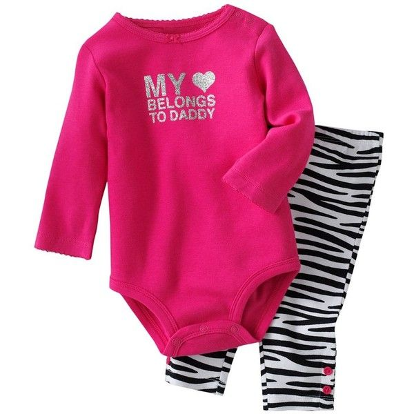 Carter's My Heart Belongs To Daddy Bodysuit and Zebra Leggings Set -... ($11) ❤ liked on Polyvore