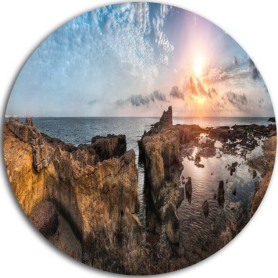 """DesignArt 'Beach with Ancient Ruins Panorama' Photographic Print on Metal Size: 38"""" H x 38"""" W x 1"""" D"""