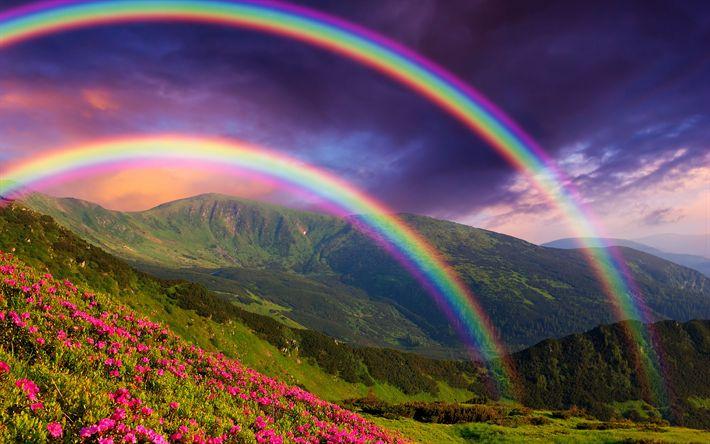 Download imagens arco-íris, montanhas, verão, belas paisagens