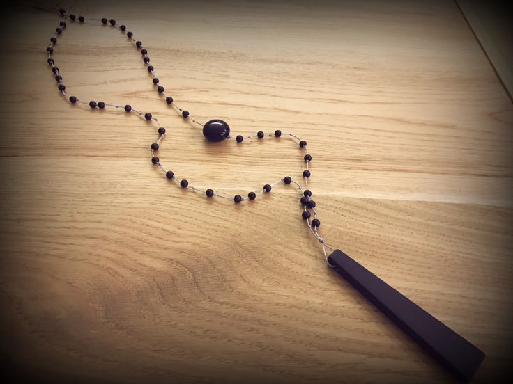 Handmade rosary with silicone charm..love this black necklace..
