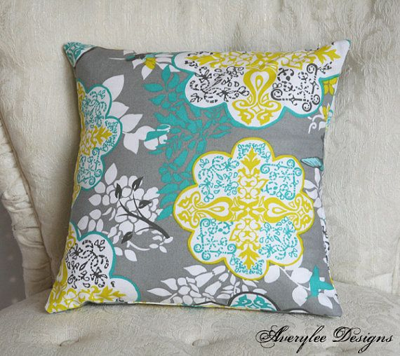 Grey Lace Teal and Yellow Pillow Cover 12 16 20 by AveryleeDesigns, $12.00