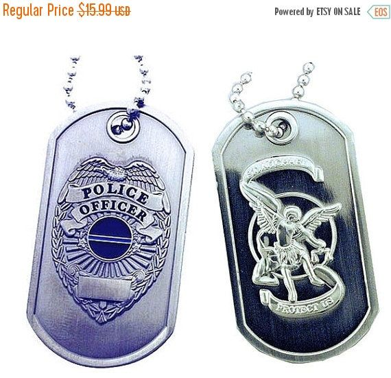 On Sale Police Shield St. Michael Brushed Steel Dog by RescueTees