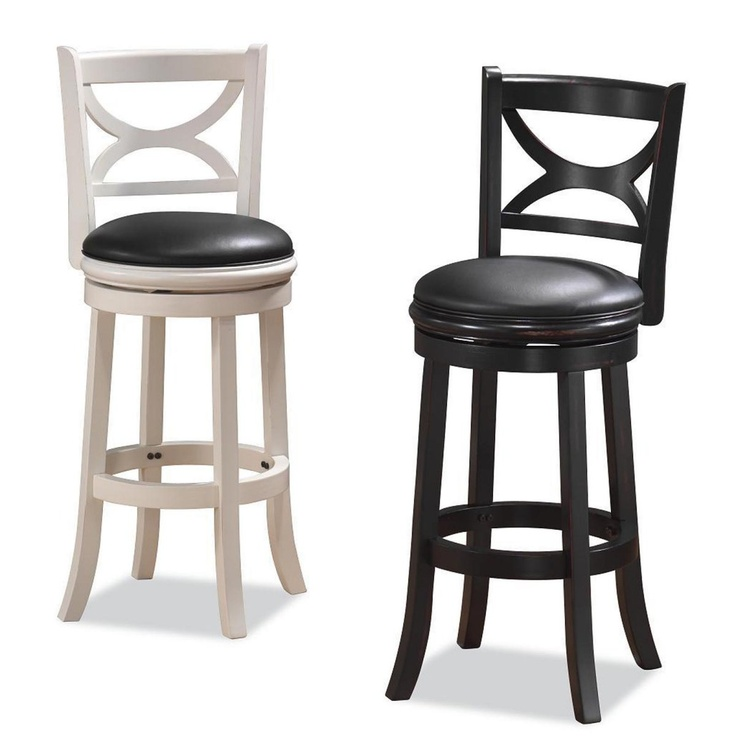 Elegant Black Bar Stools with Backs Swivel