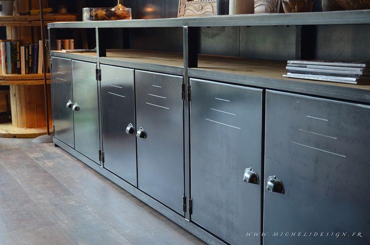 Meuble rangement enfilade acier bois sur mesure - MICHELI Design