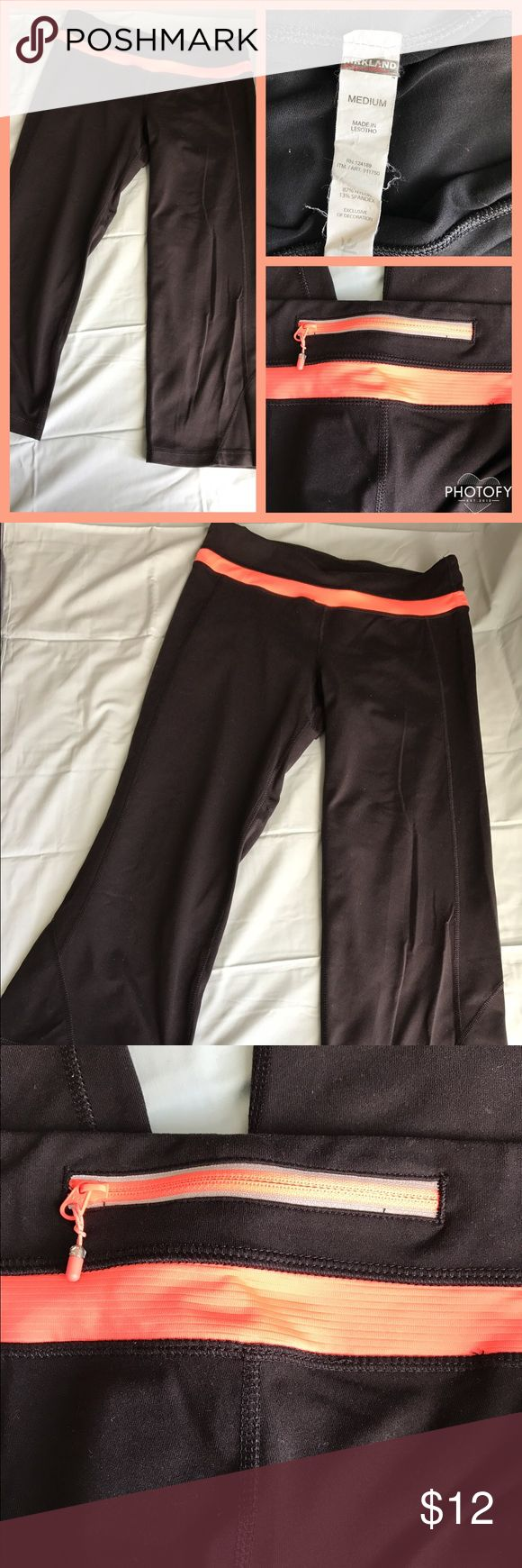 PRICE DROP Kirkland Capris Black/Orange Size M 🔶Kirkland(Costco) Capris Black/Orange🔶 🔶Size M🔶 🔶Fabric: 87% Nylon 13% Spandex 🔶 🔶worn a couple times🔶 🔶Zipper in back to hold personal items like keys🔶  🔶NO damage, snags, stains SMOKE FREE HOME🔶 Kirkland Pants Capris