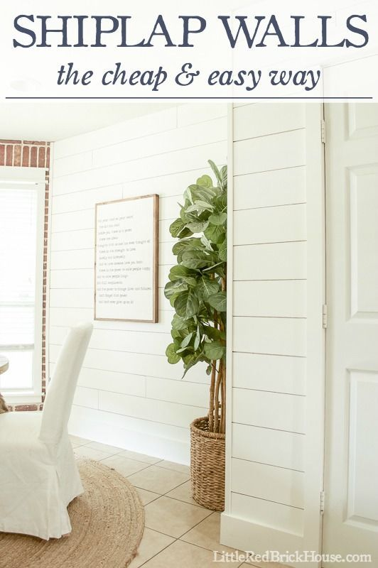 Shiplap Walls: The Cheap & Easy Way | LittleRedBrickHouse.com ---- walls and trim painted Alabaster, Sherwin Williams.  All time favorite white.  I LOVE THE FRAMED INSPIRATIONAL ART AND WHAT THE WORDS SAY.