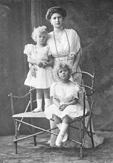 Princess Alice (Victoria Alice Elizabeth Julia Marie) Battenburg, Germany (1885-1969) with her first 2 children, Margarita (1905-1981) & Theodora  (1906-1969), c 1910. She was the wife of Prince Andrew of Greece & mother of Prince Philip of UK (husband of Queen Elizabeth II)
