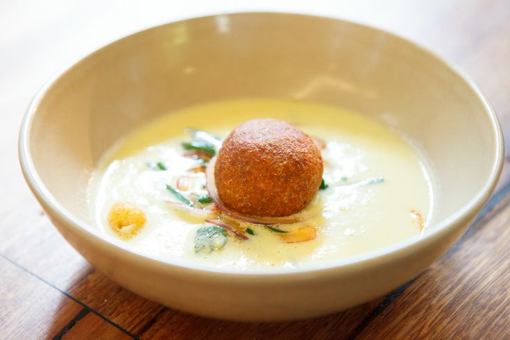 Sweet corn, coconut and kaffir lime soup, with chicken kibbeh and smoked almonds by Shane Delia at Highpoint Shopping Centre