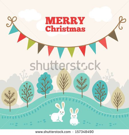 Christmas greeting card. Winter forest, holiday garland, rabbits. - stock vector