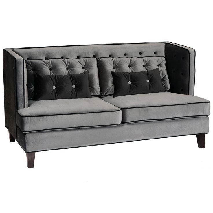 Moulin Gray With Black Piping Loveseat