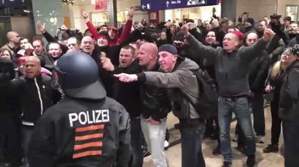 Enraged German men protest against police for their incompetency against combatting Muslim rape