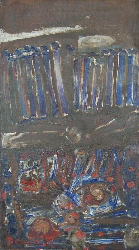 Kompozycja, 1958, olej na płótnie, 79,5 x 42,5 cm