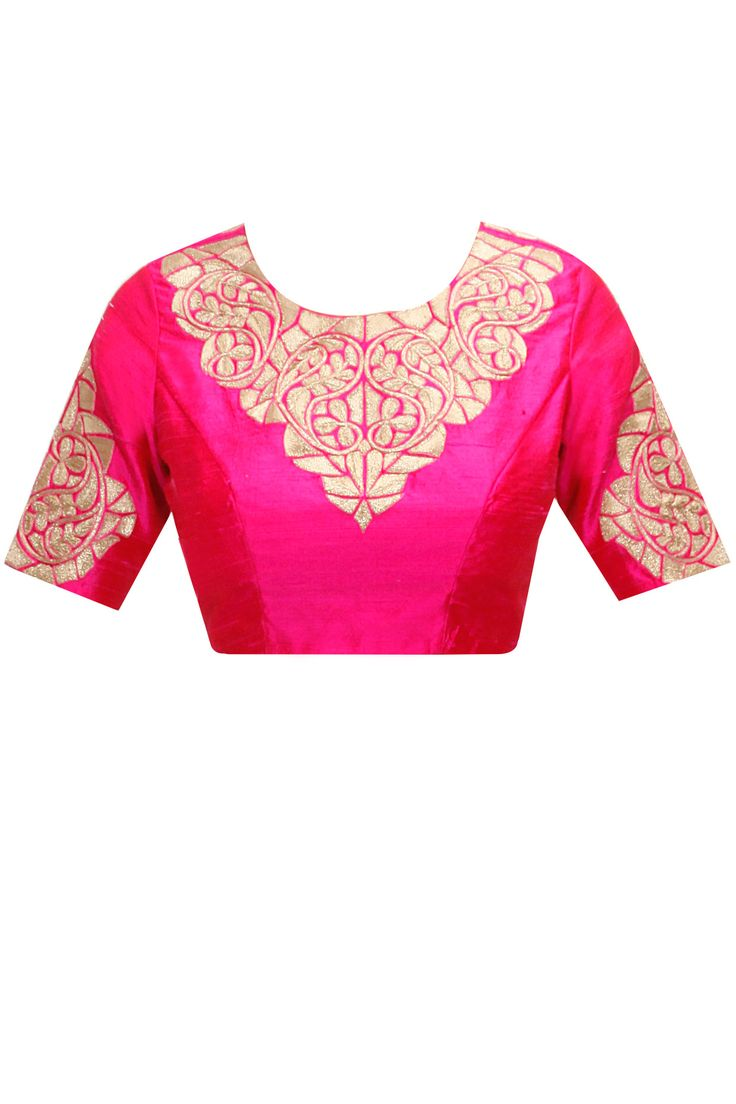Pink gota crewel leaf embroidered blouse by Nachiket Barve. Shop now: www.perniaspopups.... #blouse #nachiketbarve #pretty #clothing #designer #shopnow #perniaspopupshop #happyshopping