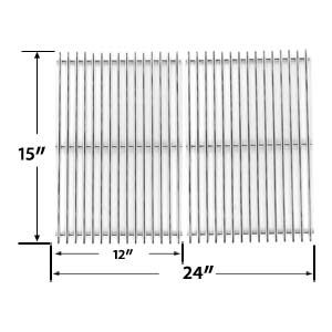 STAINLESS STEEL REPLACEMENT COOKING GRID FOR BROIL KING 345, 42, 545, 550, 645, 655, 745, 750, 900, 945, 950, 955, 9959-74 AND JACUZZI JC-4010, JC-4020, JC-4020-LPPC, JC-4020-NPB, JC-4020-NPC, JC-4020-NPM GAS GRILL MODELS, SET OF 2