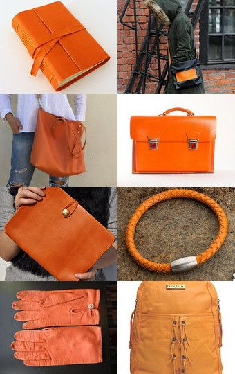Orange leather designs by Yael Herman on Etsy--Pinned with TreasuryPin.com