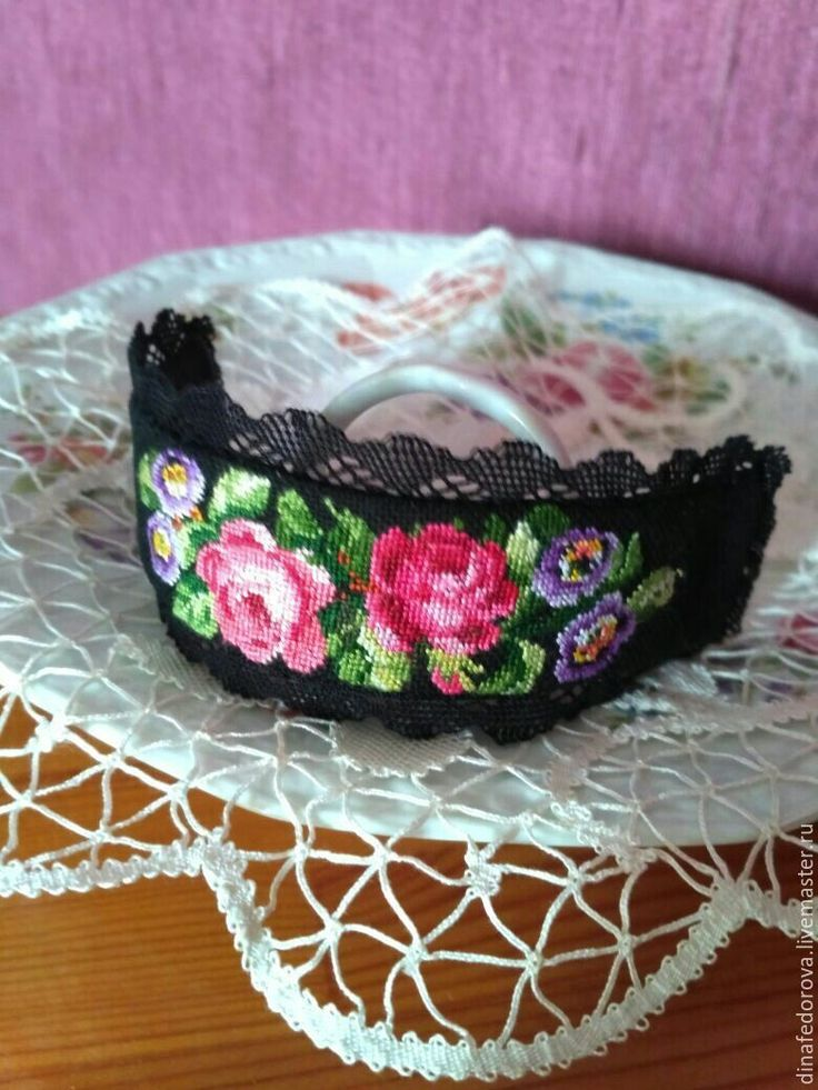 Купить Вышитый браслет РОМАНТИКА - вышитый браслет, вышивка петитом, вышитые розы, браслет с розами