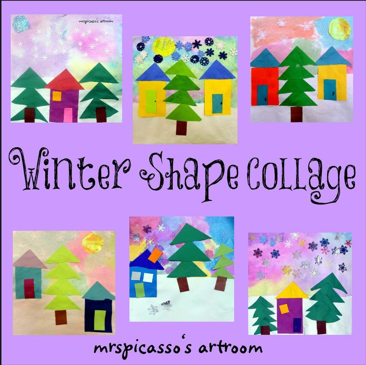 mrspicasso's art room: Winter Shape Collage. Liquid watercolor and salt for the sky. Can use torn paper for snow. Shapes for houses and trees.