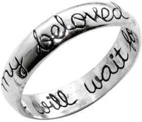 "LOWER PRICE .925 sterling silver - Precious Metal Christian purity ring that is engraved with cursive handwriting inside the band ""I will wait for"" and outside band is ""my beloved"" Large range of size"