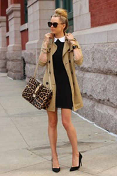 Channel Audrey Hepburn with a tan trench coat/ black and white dress combo...and of course, the ballerina bun.