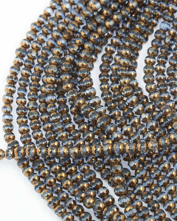 Blue glass bead Gold coated