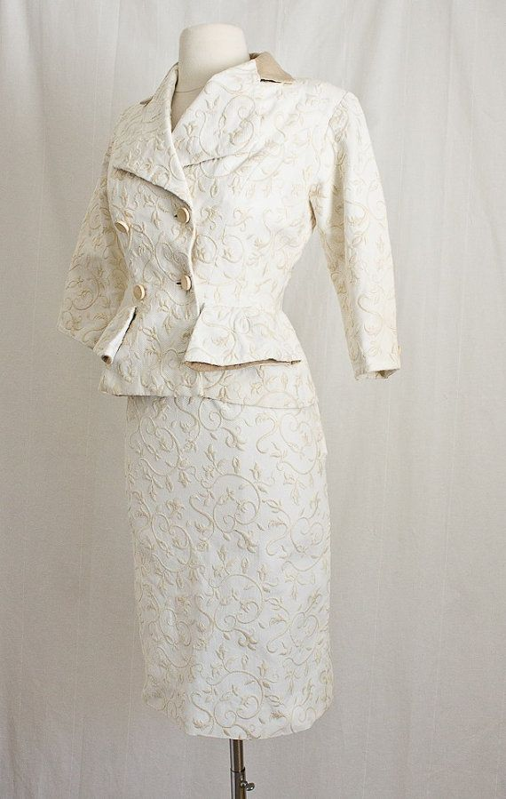 1950s french haute couture wiggle suit peplum 2 piece for French haute couture